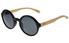 abc27a34dfd1 Sort rund bambus solbrille - Design nr. 3044